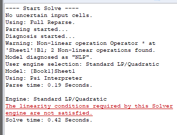 The linearity conditions required by this Solver engine are